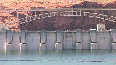 Glen Canyon Dam and Bridge at Lake Powell in Arizona Stock Footage