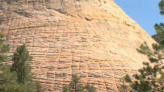 Checkerboard Mesa Rock Formation in Zion National Park, Utah Stock Footage