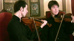 Violinists and violoncellist. Panorama Stock Footage