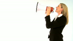 Businesswoman with megaphone Stock Footage