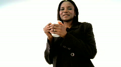 African woman with coffee or tea Stock Footage