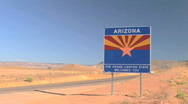 Welcome to Arizona Sign Along Road - Time Lapse Stock Footage