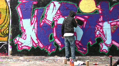 Painter and graffiti Stock Footage