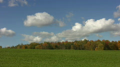 Beautiful field w/ timelapse clouds. Stock Footage