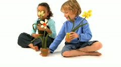 Two children and flowers Stock Footage