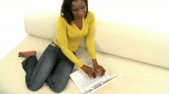 African woman using laptop Stock Footage
