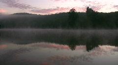 Foggy lake sunrise Stock Footage