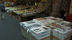 Stock Video Footage of Fish Market in Ameyoko in Ueno in Tokyo, Japan