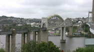 Stock Video Footage of Royal Albert railway bridge at Saltash built by Brunel over the river Tamar.