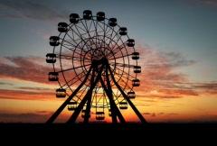 Ferris whell on sunset Stock Footage
