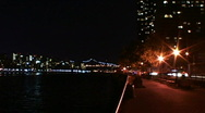 NYC E. River Park With Traffic Timelapse Stock Footage