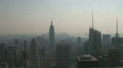 Stock Video Footage of Hazy NYC Skyline Zoom-in