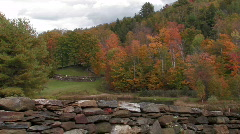 Stone Fenced Field in Vermont Stock Footage