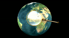 Turn around 3D earth with magnifier Stock Footage