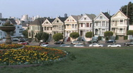 San Francisco Painted Houses Stock Footage