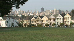 San Francisco Painted Houses with Skyline Stock Footage