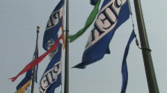 Pier 39 Flags in San Francisco - stock footage