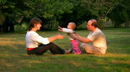 Happy family in the park 1 Stock Footage