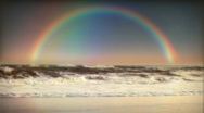 1032 Rainbow Beach Waves Ocean Sunset Surf Stock Footage