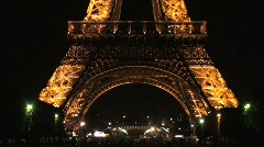 Eiffel Tower at Night – Pan Up - stock footage