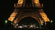 Eiffel Tower at Night – Pan Up Stock Footage