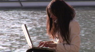 Hispanic woman using laptop Stock Footage