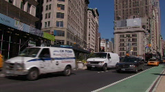 New York City: Taxis and tour busses on Broadway Stock Footage