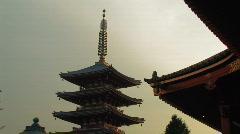 Pagoda by Sensoji Temple in Asakusa in Tokyo, Japan Stock Footage