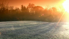 Extreme Winter Sunrise With A Very Cold Ice Frost Stock Footage