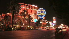 Las Vegas Strip at Night with Paris and Planet Hollywood Stock Footage