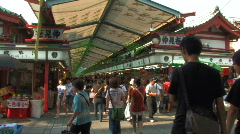 Nakamise Shopping Street by Sensoji Temple in Asasuka, Tokyo Stock Footage
