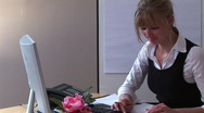 Business Woman at Work in Home Office Stock Footage