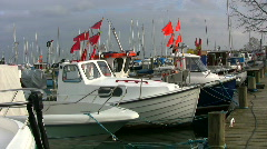 Moored fishing boats Stock Footage