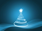 Christmas tree with falling snow loop animation, blue colors Stock Footage