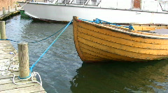 Clinker-built wooden boat Stock Footage