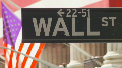 Road sign of wall street Stock Footage