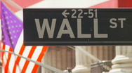 Stock Video Footage of road sign of wall street