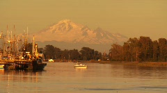 Mount Baker from Steveston Harbor Stock Footage