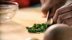chef chopping basil - stock footage