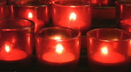 Red church candles. Stock Footage