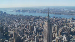 Heli flight around empire state building part III Stock Footage