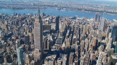 Heli flight around empire state building part II Stock Footage