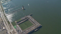 Aerial view hudson and sports yard Stock Footage