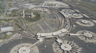 Aerial view over airport Stock Footage