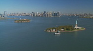 Aerial view statue of liberty part I Stock Footage