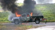 Pickup truck engulfed in fire Stock Footage