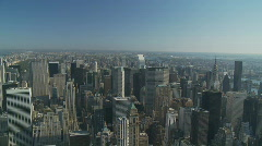 Pan shot from above over upper manhattan Stock Footage