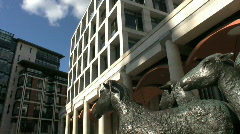 Shepherd and sheep statue with Stock Exchange in Paternoster Square London - stock footage