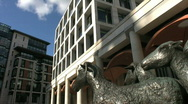 Stock Video Footage of Shepherd and sheep statue with Stock Exchange in Paternoster Square London