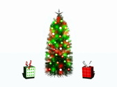 Stock Video Footage of Presents dancing around Christmas Tree Loopable NTSC